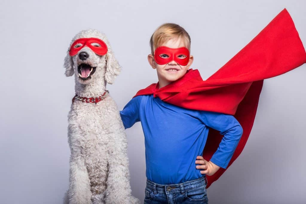 boy and dog with super hero mask and cape