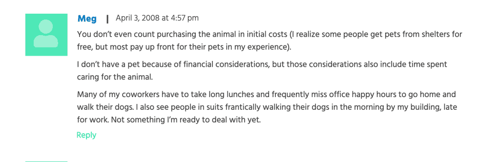 snippet that talks about the opportunity cost of dog ownership