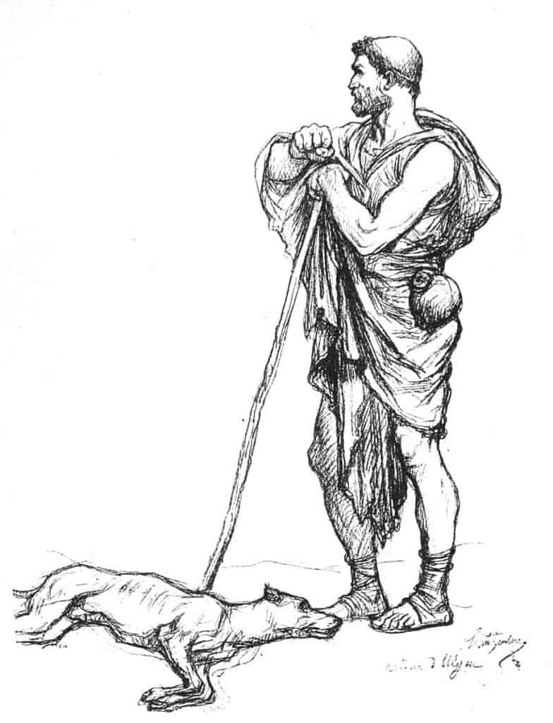 pencil line illustration of man and dying dog
