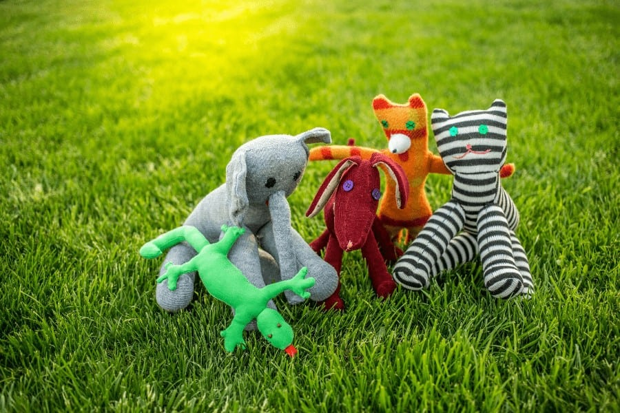 collection of soft dog toys