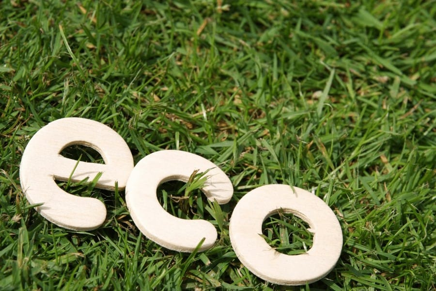 wodedn eco letters on the grass
